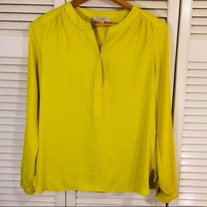 LOFT Yellow Button Front Blouse